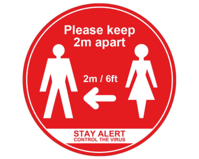 Please Keep 2m Apart - Covid19 Coronavirus Floor Wall Stickers