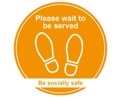 Please Wait To Be Served - Covid19 Coronavirus Floor Wall Sticker